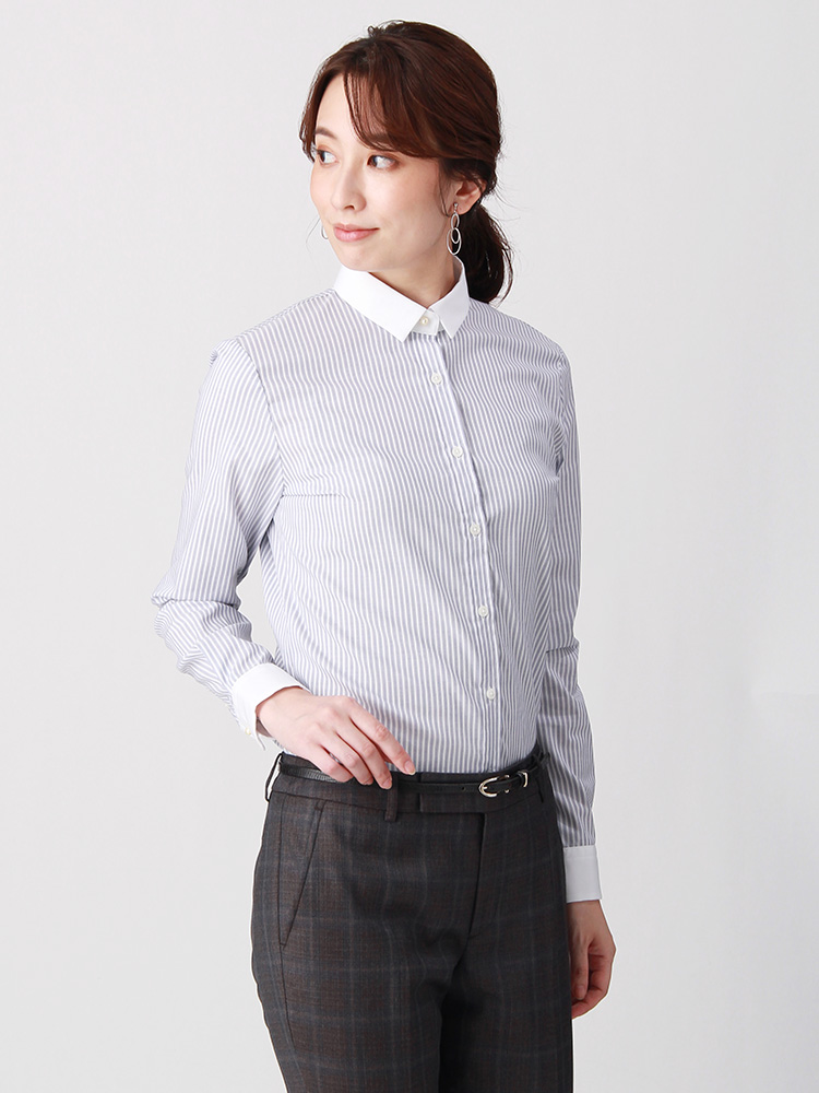 destyle/Easy Care Stretch Blouse クレリック&レギュラーカラー0
