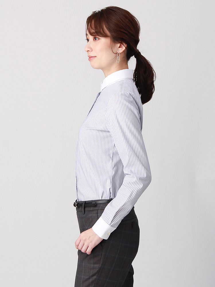 destyle/Easy Care Stretch Blouse クレリック&レギュラーカラー1