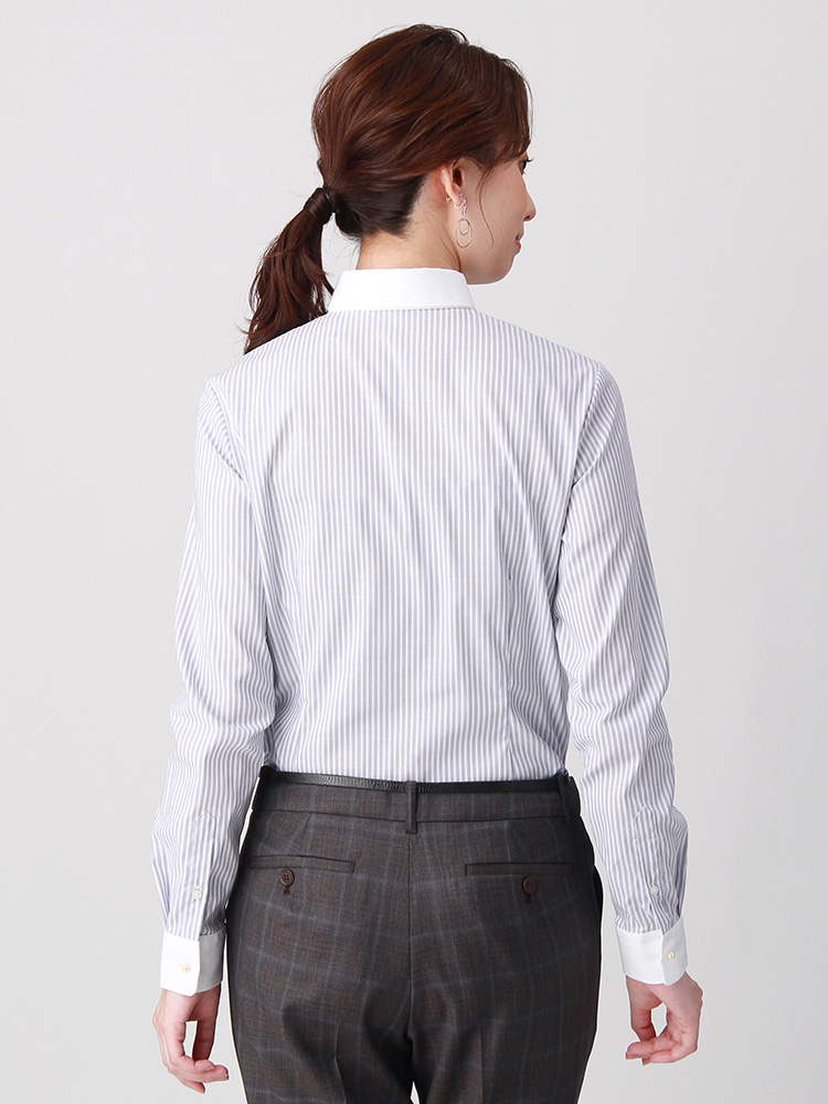 destyle/Easy Care Stretch Blouse クレリック&レギュラーカラー2