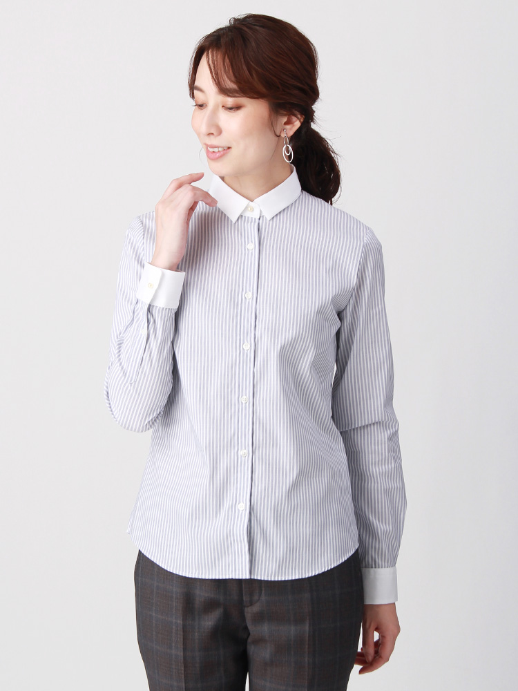 destyle/Easy Care Stretch Blouse クレリック&レギュラーカラー3